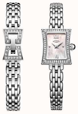 Rotary Ladies Slimline Stainless Steel Quartz Watch & Bracelet Set LB05058/41/SET