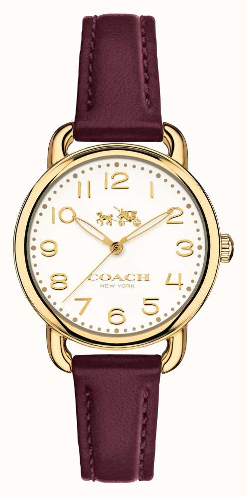 Coach womens delancey purple leather strap white dial 14502613 first class watches for Violet leather strap watch