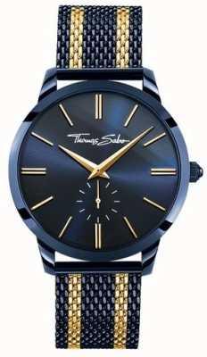 6e60f7700963 Thomas Sabo Mens Rebel Spirit Blue Steel Yellow Gold Stripes WA0283-286-209-