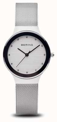 Bering Womans | Stainless Steel Silver Mesh Strap | White Face | 12934-000