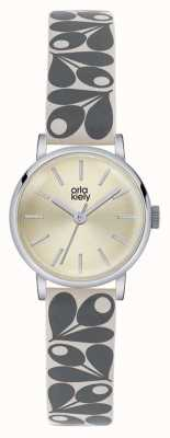 Orla Kiely Womans Grey Cream Leather Cream Dial OK2043