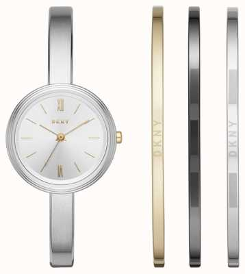 DKNY Womans Silver Watch 3 Bangle Gift Set NY2577