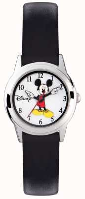 Disney Adult Mickey Mouse Kids Silver Case Black Strap MK1314