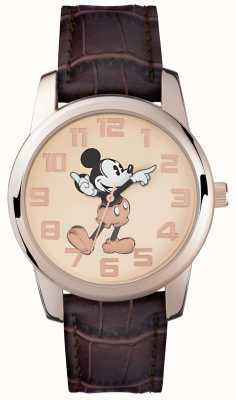 Disney Adult Mickey Mouse Rose Gold Case Brown Strap MK1459