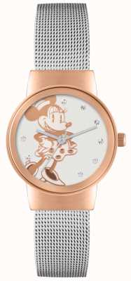 Disney Adult Minnie Mouse Rose Gold Case Silver Mesh Strap MN1312