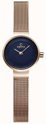 Obaku Womans Gold Mesh And Navy Metal Watch V199LXVLMV