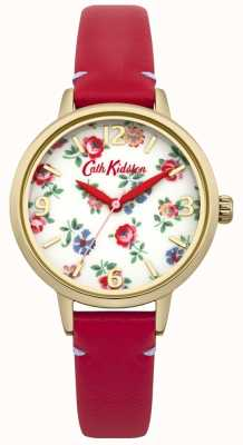 Cath Kidston Ladies Red Leather Linen Sprig Watch CKL006RG