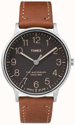 Timex Mens Waterbury Classic Black Dial Brown Strap TW2P95800