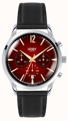 Henry London Mens Chancery Stainless Steal Black Leather Strap HL41-CS-0099