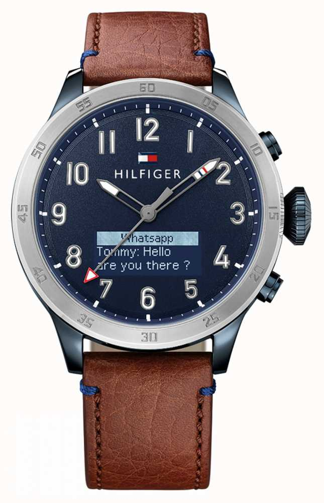 8d117aa1b8f093 Tommy Hilfiger TH 24/7 Smartwatch Brown Leather Strap Blue Dial ...