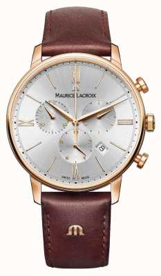 Maurice Lacroix Eliros 40mm Mens Watch Brown Leather Rose Gold Plated EL1098-PVP01-111-1
