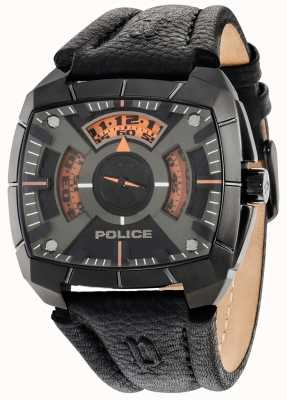 Police Mens G Force Black Leather Strap Black Dial 14796JSU/02