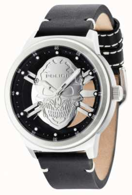 Police Mens Predator Gun Skull Black Leather Strap 14685JSB/61
