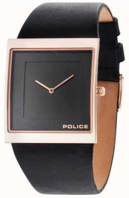 Police Mens Skyline Black Leather Strap Black Dial 14694MSR/02