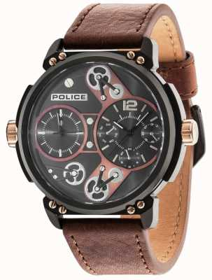 Police Mens Steampunk Brown Dial Camel Leather Strap 14693JSB/12A