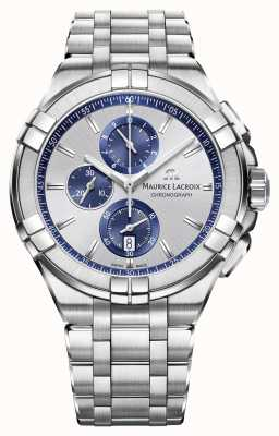 Maurice Lacroix Mens Aikon Chronograph Stainless Steel Blue AI1018-SS002-131-1