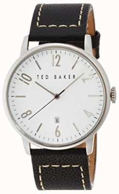 Ted Baker Mens Black Leather Strap Large White Dial TE112010015129