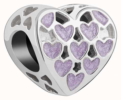 Chamilia Always Sterling Silver Purple Hearts Charm 2025-2209