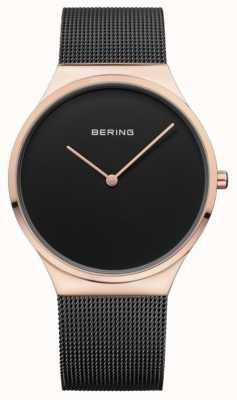Bering Womans Classic Mesh Black Rose Gold Case 12138-166