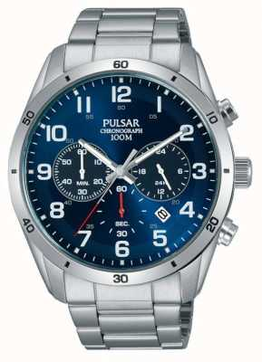 Pulsar Gents 100m Stainless Stell Blue Face Chrono Watch PT3829X1