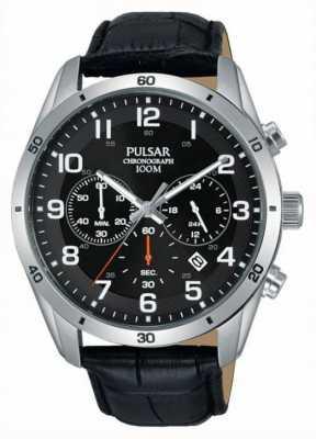 Pulsar Gents 100m Black Leather Watch PT3833X1