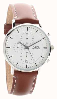 Pulsar Gents Brown Leather Chrono PM3077X1