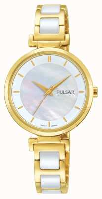 Pulsar Ladies Gold Plated/ceramic Dress Watch PH8272X1