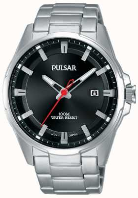 Pulsar Gents Black Dial Stainless Steel Watch PS9509X1
