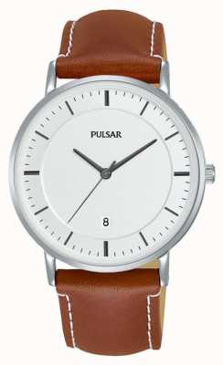 Pulsar Gents Brown Leather Watch PG8253X1