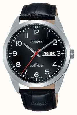 Pulsar Gents Black Leather Black Dial Watch PJ6067X1