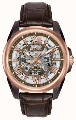 Bulova Mens Automatic Skeleton Brown Leather 98A165