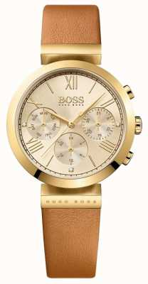 Boss Womens Classic Sport Brown Leather Strap Gold Dial 1502396