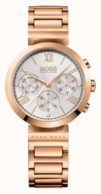 Hugo Boss Womens Classic Sport Rose Gold Plated Bracelet Silver Dial 1502399