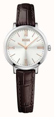 Hugo Boss Womens Jillian Brown Leather Strap Silver Dial 1502393