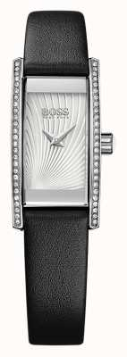 Hugo Boss Womens Cocktail Black Leather Strap Silver Dial 1502390