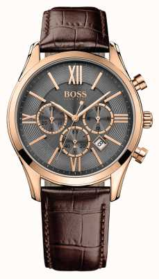 Hugo Boss Mens Ambassador Brown Leather Strap Grey Dial 1513198