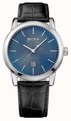 Hugo Boss Mens Classic Black Leather Strap Blue Dial 1513400