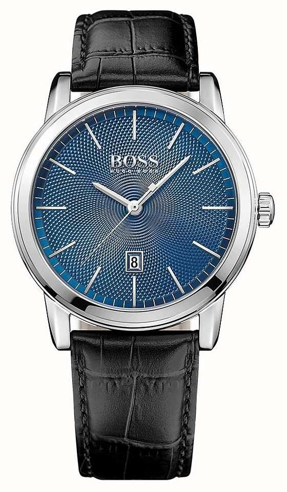 9c9af6857 Boss Mens Classic Black Leather Strap Blue Dial 1513400 - First ...