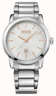 Hugo Boss Mens Classic Stainless Steel Bracelet White Dial 1513401