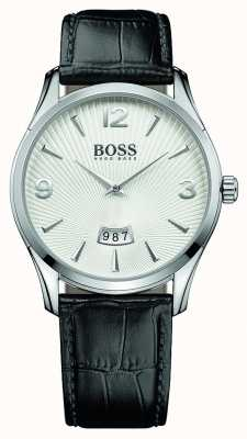Hugo Boss Mens Commander Black Leather Strap White Dial 1513449