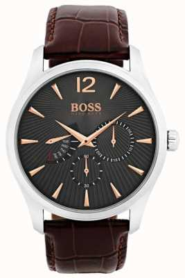 Hugo Boss Mens Commander Brown Leather Strap Grey Dial 1513490