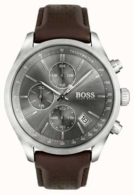 Hugo Boss Mens Grand Prix Brown Leather Strap Grey Dial 1513476
