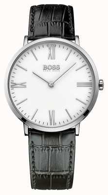 Hugo Boss Mens Jackson Black Leather Strap White Dial 1513370