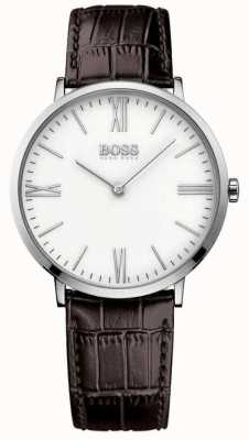 Hugo Boss Mens Jackson Brown Leather Strap White Dial 1513373