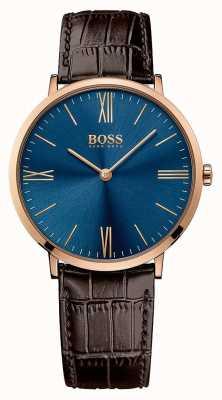 Hugo Boss Mens Jackson Brown Leather Strap Blue Dial 1513458