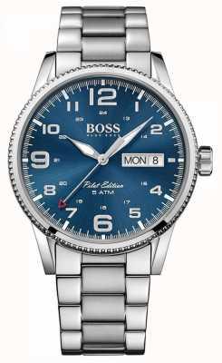 Boss Mens Pilot Vintage Stainless Steel Bracelet Blue Dial 1513329