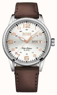 Hugo Boss Mens Pilot Vintage Brown Leather Strap Silver Dial 1513333