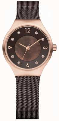 Bering Ladies Solar Milanese Mesh Strap rose gold case 14427-265