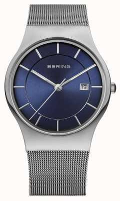 Bering Men's Milanese Mesh Strap Blue Face Watch 11938-003