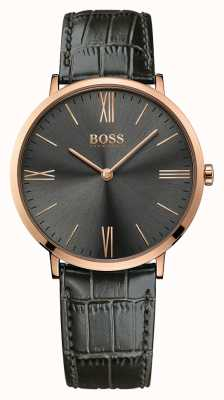 Hugo Boss Mens Jackson Grey Leather Watch 1513372